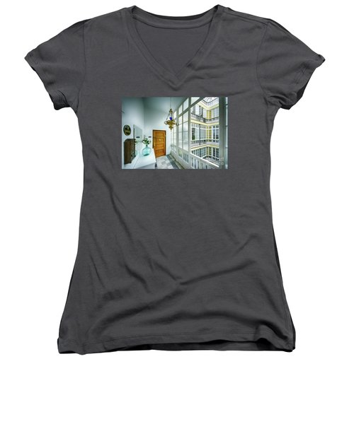 Women's V-Neck T-Shirt featuring the photograph Apartment In The Heart Of Cadiz 17th Century Cadiz by Pablo Avanzini