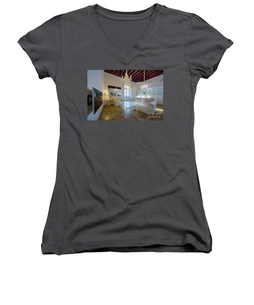 Women's V-Neck T-Shirt featuring the photograph Apartment In The Heart Of Cadiz 17th Century by Pablo Avanzini