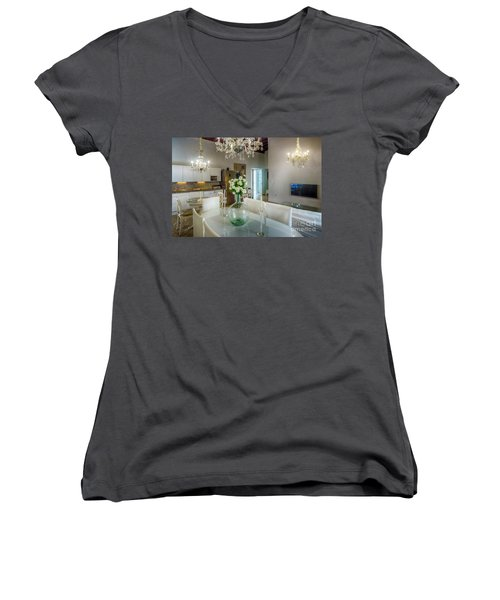 Women's V-Neck T-Shirt featuring the photograph Apartment In The Heart Of Cadiz Spain 17th Century by Pablo Avanzini