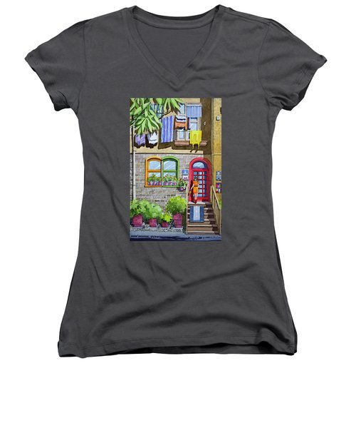 Apartment With Red Door Women's V-Neck (Athletic Fit)