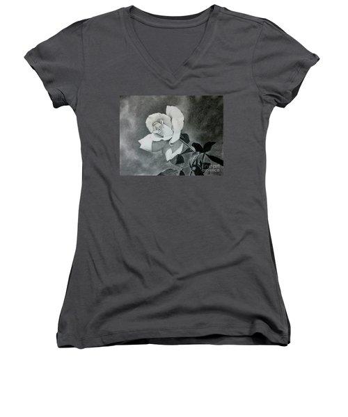 Women's V-Neck T-Shirt (Junior Cut) featuring the drawing Aperitif Rose by Terri Mills