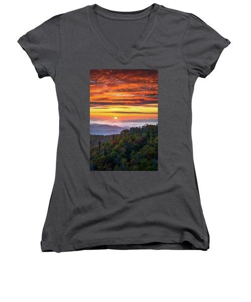 Appalachian Mountains Asheville North Carolina Blue Ridge Parkway Nc Scenic Landscape Women's V-Neck