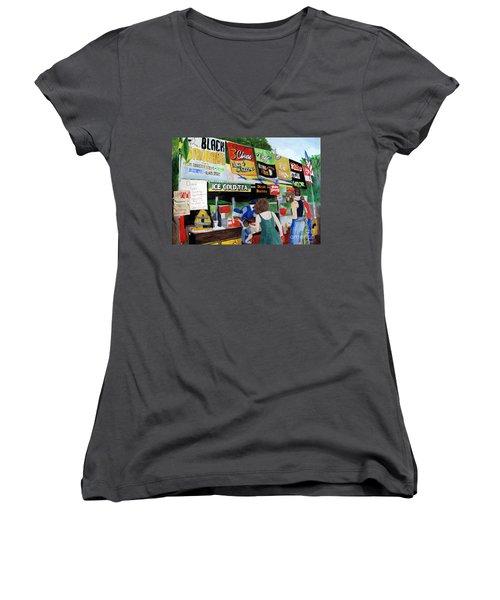 Appalachian Picnic Women's V-Neck T-Shirt (Junior Cut) by Sandy McIntire