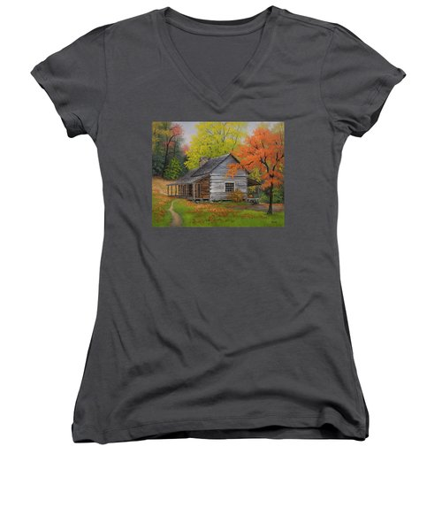 Women's V-Neck T-Shirt (Junior Cut) featuring the painting Appalachian Retreat-autumn by Kyle Wood