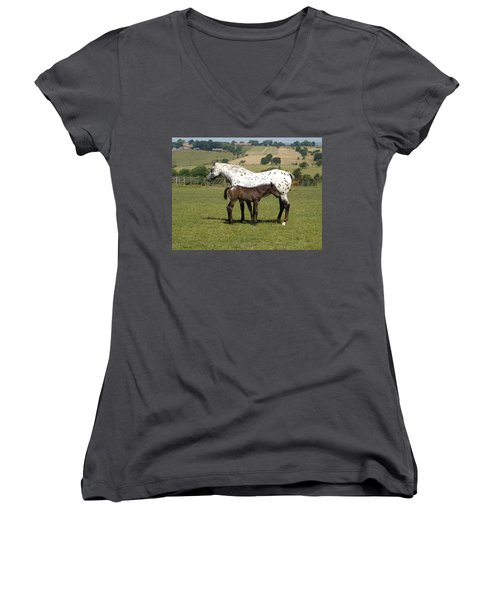 Appaloosa Mare And Foal Women's V-Neck T-Shirt