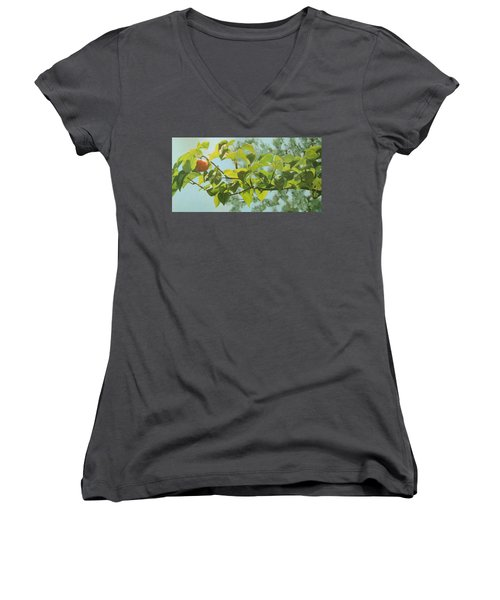 Women's V-Neck T-Shirt (Junior Cut) featuring the painting Apple A Day by Karen Ilari