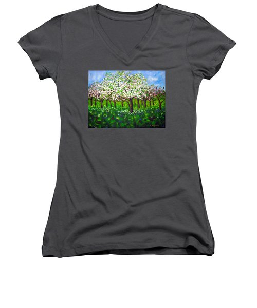 Apple Blossom Orchard Women's V-Neck (Athletic Fit)