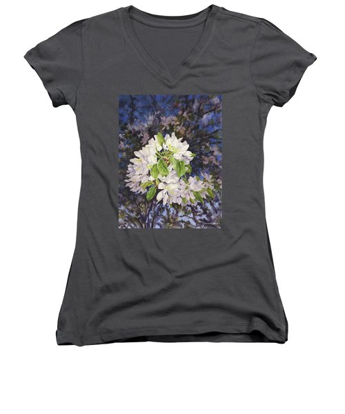 Apple Blossoms At Dusk Women's V-Neck T-Shirt (Junior Cut) by Anne Gifford
