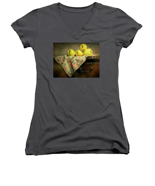 Women's V-Neck T-Shirt (Junior Cut) featuring the photograph Apple Cloth by Diana Angstadt