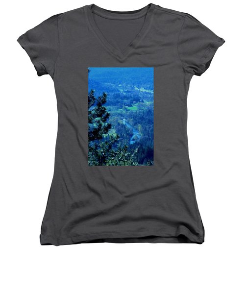 Women's V-Neck T-Shirt (Junior Cut) featuring the photograph Applegate River From On Top Of Bolt Mountain by Marie Neder