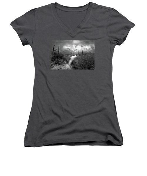 Approaching Storm Women's V-Neck T-Shirt (Junior Cut) by John Rivera