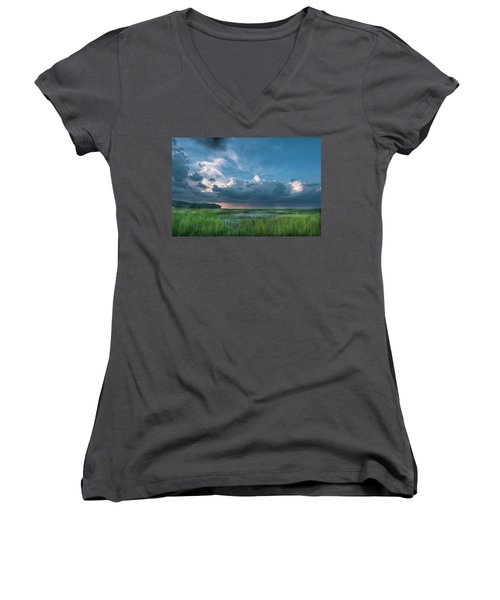 Women's V-Neck T-Shirt (Junior Cut) featuring the photograph Approaching Storm by Phyllis Peterson