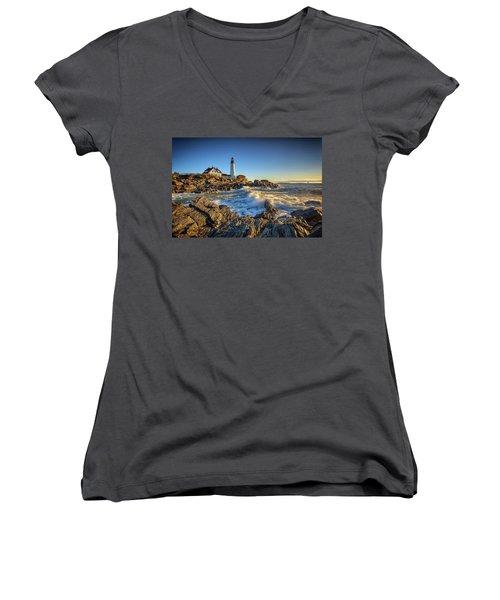 Women's V-Neck T-Shirt (Junior Cut) featuring the photograph April Morning At Portland Head by Rick Berk