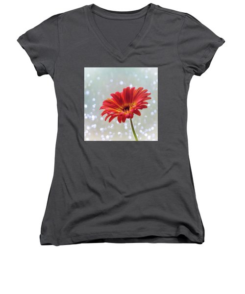 Women's V-Neck T-Shirt (Junior Cut) featuring the photograph April Showers Gerbera Daisy Square by Terry DeLuco