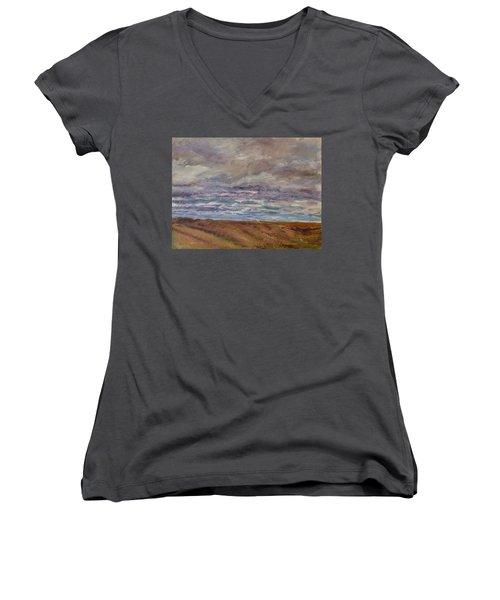 April Wind Women's V-Neck T-Shirt (Junior Cut) by Helen Campbell
