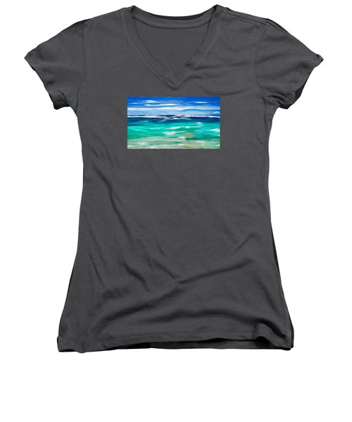 Women's V-Neck T-Shirt (Junior Cut) featuring the digital art Aqua Waves by Anthony Fishburne