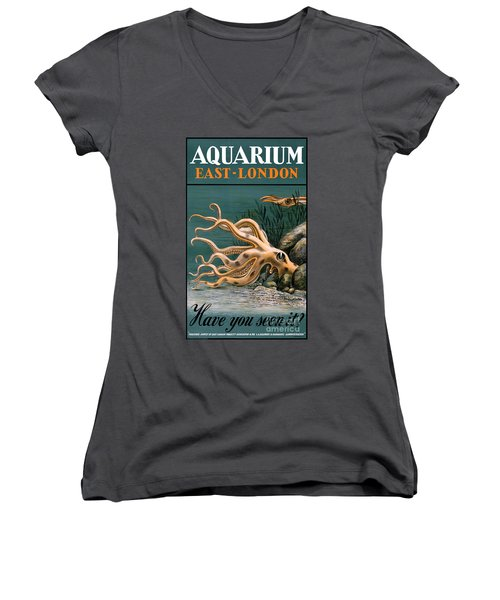 Aquarium Octopus Vintage Poster Restored Women's V-Neck (Athletic Fit)