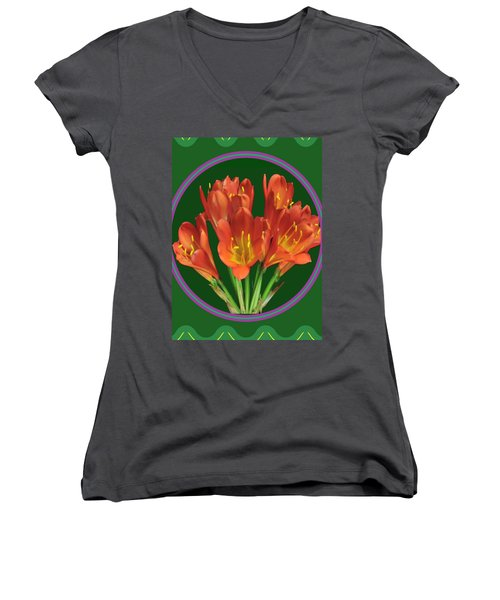 Aquilegia Formosa Flower Floral Photography N Graphic Fusion Art Navinjoshi Fineartamerica Pixels Women's V-Neck