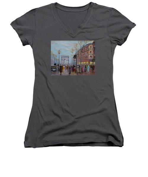 Arc De Triompfe - Lmj Women's V-Neck T-Shirt (Junior Cut) by Ruth Kamenev