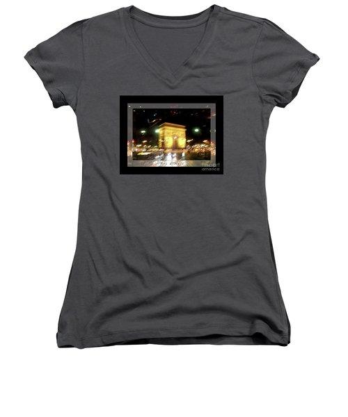 Arc De Triomphe By Bus Tour Greeting Card Poster V1 Women's V-Neck T-Shirt (Junior Cut) by Felipe Adan Lerma