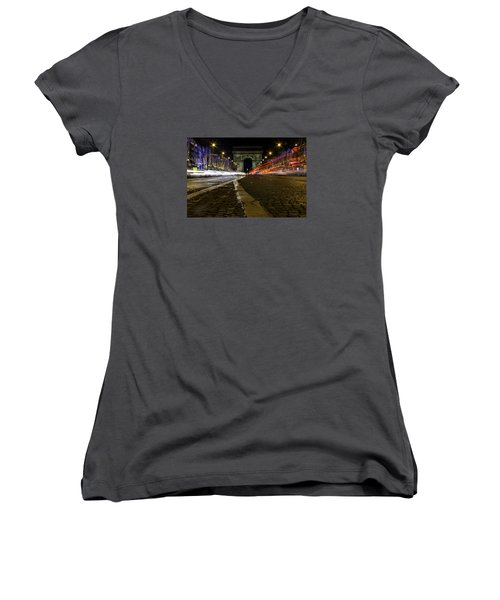 Arc D'triumph With Stripes Women's V-Neck T-Shirt (Junior Cut) by Rainer Kersten