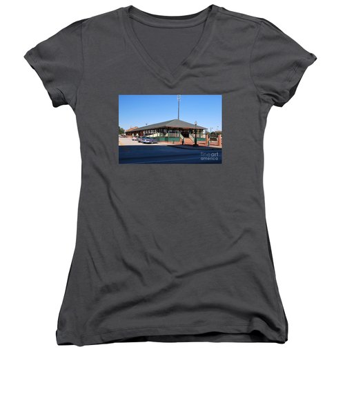 Arcadia Train Station Women's V-Neck T-Shirt (Junior Cut) by Gary Wonning