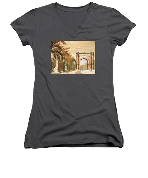 Women's V-Neck T-Shirt (Junior Cut) featuring the painting Arch- Barcelona, Spain by Ryan Fox