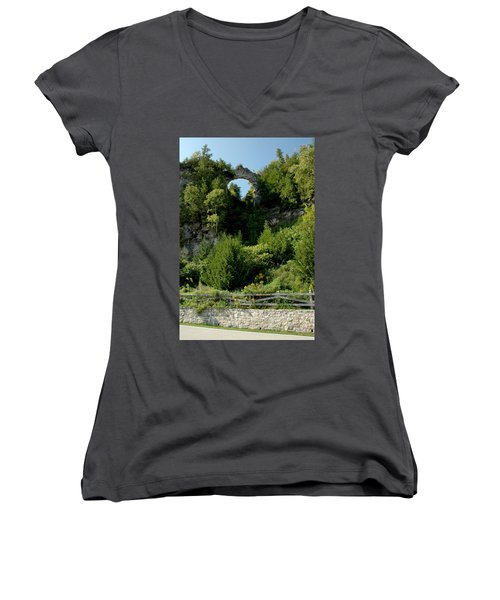 Women's V-Neck T-Shirt (Junior Cut) featuring the photograph Arch Rock Mackinac Island by LeeAnn McLaneGoetz McLaneGoetzStudioLLCcom