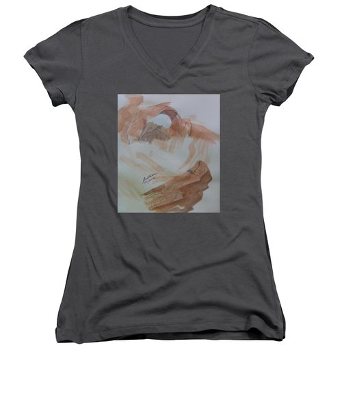 Women's V-Neck T-Shirt (Junior Cut) featuring the painting Arch Rock - Sketchbook Doodle by Joel Deutsch