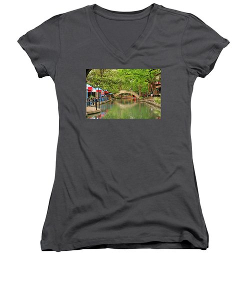 Women's V-Neck T-Shirt (Junior Cut) featuring the photograph Arched Bridge Reflection - San Antonio by Art Block Collections