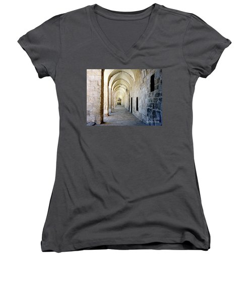 Arched Walkwayat A Church In Florence Italy Women's V-Neck (Athletic Fit)