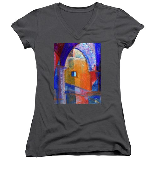 Arches And Window Women's V-Neck T-Shirt (Junior Cut) by Walter Fahmy