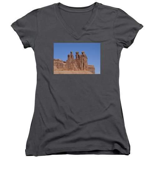 Women's V-Neck T-Shirt (Junior Cut) featuring the photograph Arches National Park by Cynthia Powell