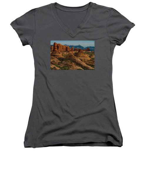 Women's V-Neck T-Shirt featuring the photograph Arches National Park by Gary Lengyel