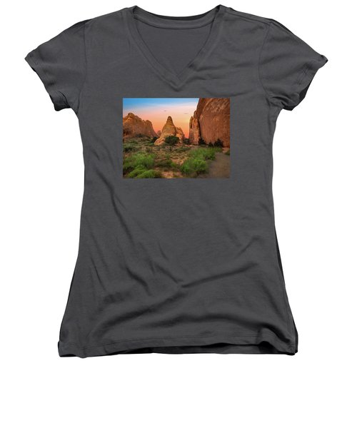 Arches National Park Sunset Women's V-Neck