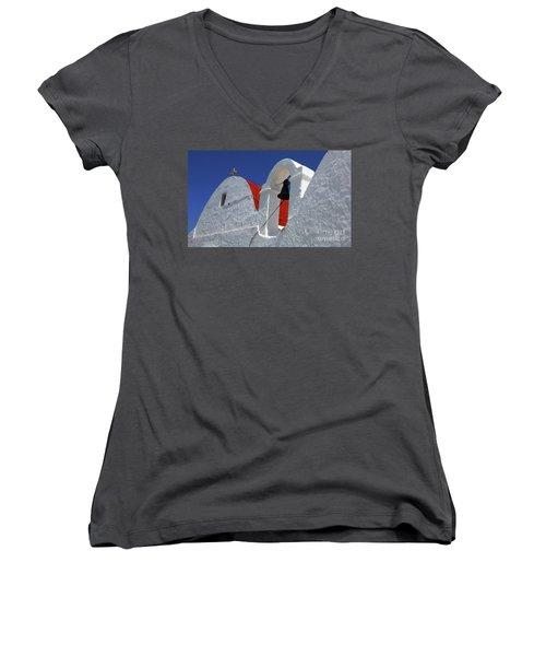 Women's V-Neck T-Shirt (Junior Cut) featuring the photograph Architecture Mykonos Greece by Bob Christopher