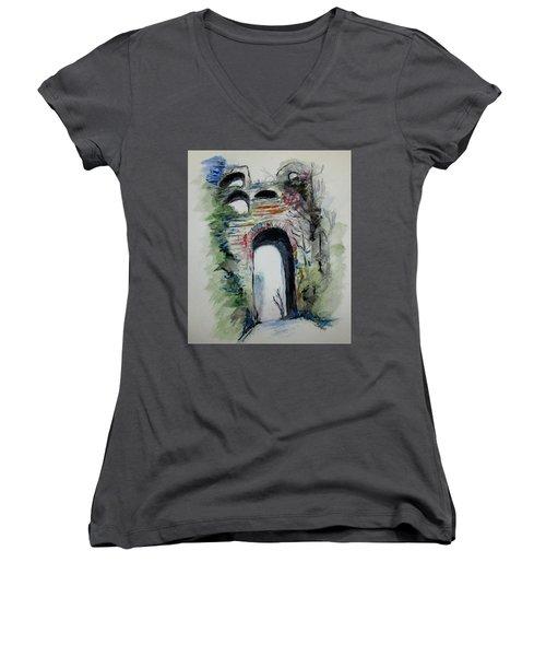Arco Felice Napoli Women's V-Neck T-Shirt (Junior Cut) by Clyde J Kell