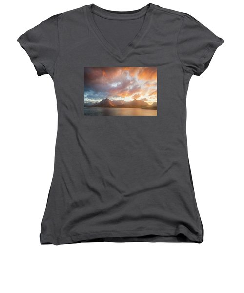 Women's V-Neck T-Shirt (Junior Cut) featuring the photograph Arctic Susnset by Maciej Markiewicz