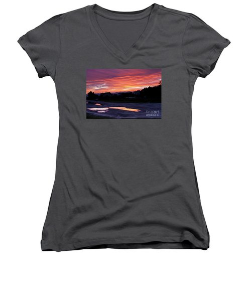 Women's V-Neck T-Shirt (Junior Cut) featuring the photograph Ardore, Calabria Town by Bruno Spagnolo