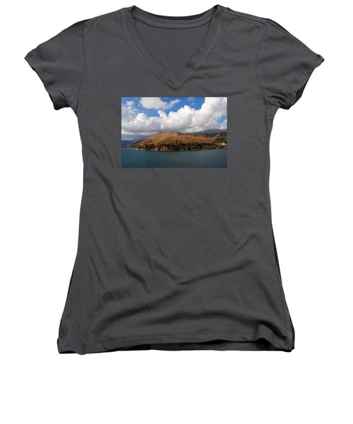 Women's V-Neck T-Shirt (Junior Cut) featuring the photograph Argostoli Greece by Robert Moss
