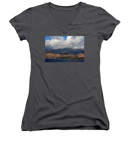 Women's V-Neck T-Shirt (Junior Cut) featuring the photograph Argostoli Mountains by Robert Moss