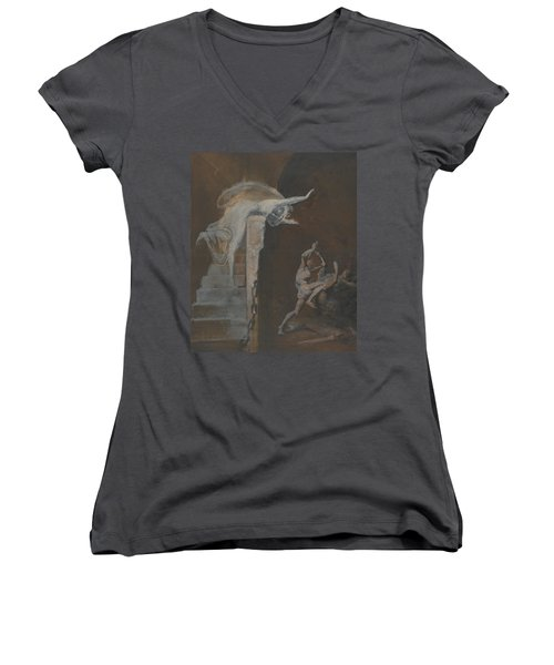 Ariadne Watching The Struggle Of Theseus With The Minotaur Women's V-Neck (Athletic Fit)