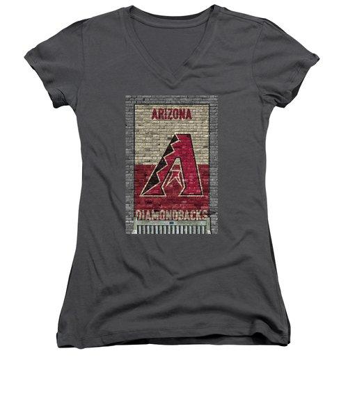 Arizona Diamondbacks Brick Wall Women's V-Neck T-Shirt