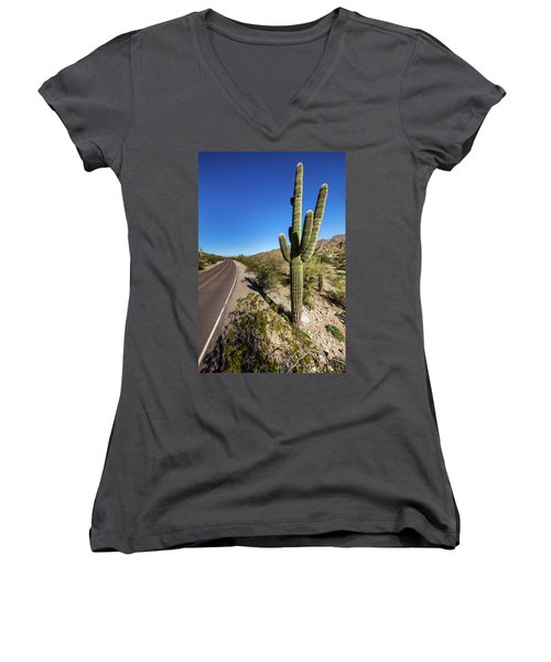 Women's V-Neck T-Shirt (Junior Cut) featuring the photograph Arizona Highway by Ed Cilley