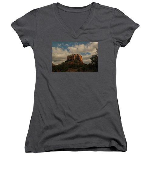 Women's V-Neck T-Shirt (Junior Cut) featuring the photograph Arizona Red Rocks Sedona 0222 by David Haskett