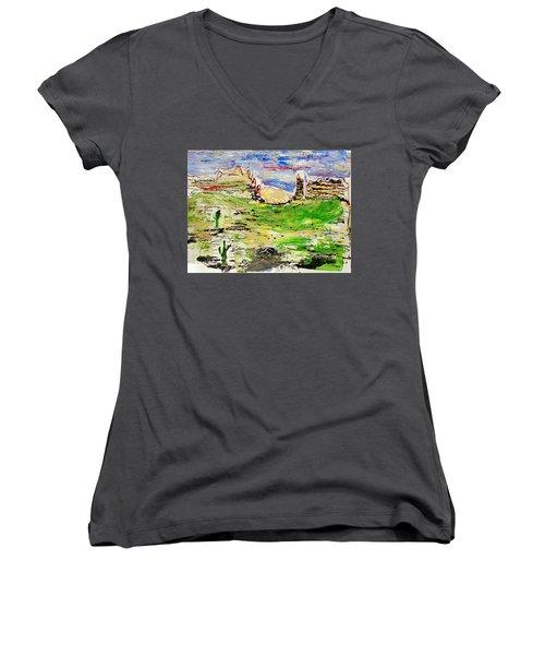Women's V-Neck T-Shirt (Junior Cut) featuring the painting Arizona Skies by J R Seymour