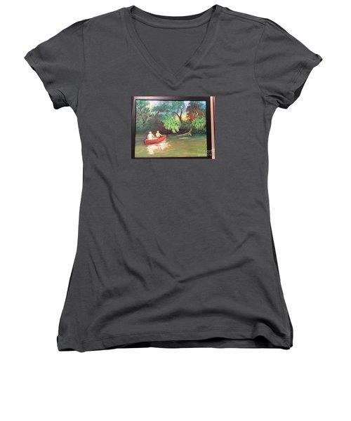 Women's V-Neck T-Shirt (Junior Cut) featuring the painting Arkansas River Float by Marcia Dutton