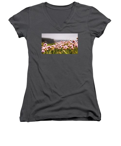 Armeria Women's V-Neck T-Shirt (Junior Cut) by Keith Sutton