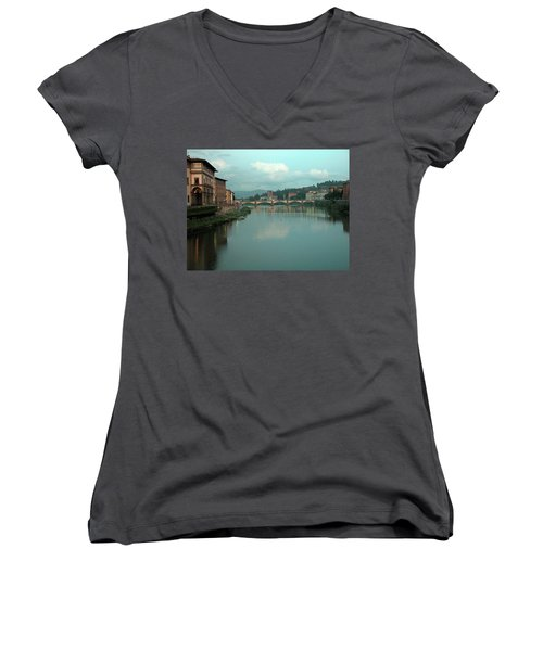 Women's V-Neck T-Shirt featuring the photograph Arno River, Florence, Italy by Mark Czerniec