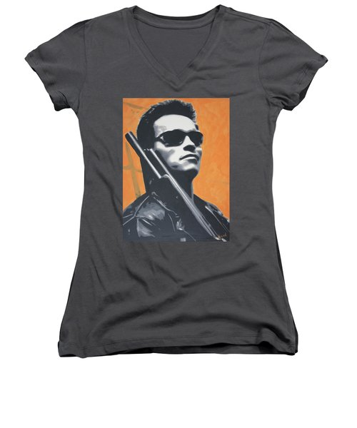 Arnold Schwarzenegger 2013 Women's V-Neck T-Shirt (Junior Cut) by Luis Ludzska